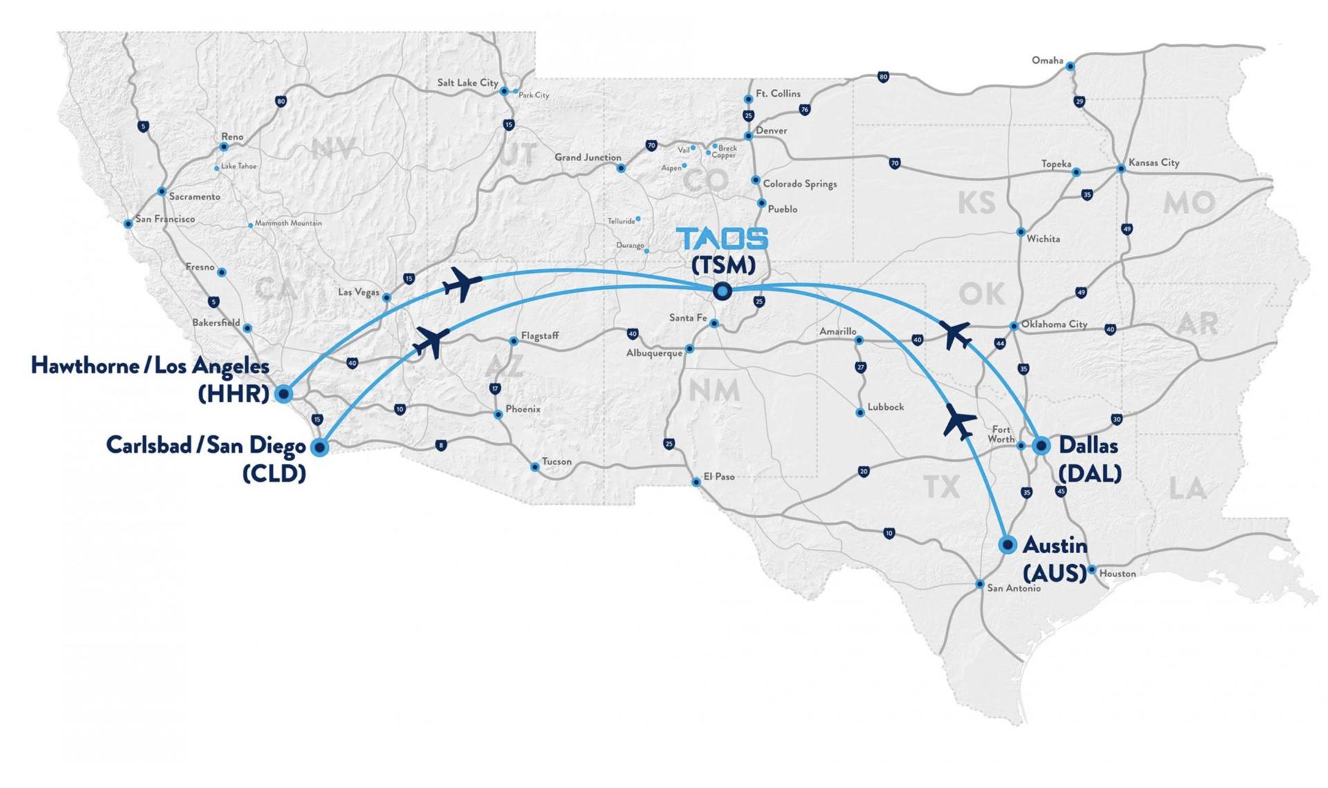 Taos Air Routes